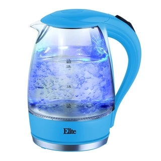 Elite Platinum EKT-300BL 1.7-Liter Glass Cordless Electric Kettle, Blue