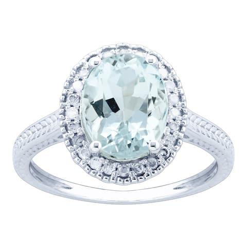 10K White Gold 1.78ct TW Aquamarine and Diamond Vintage Style Ring - Blue