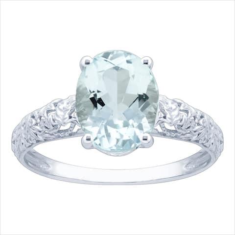 10K White Gold 1.66ct TW Aquamarine and Diamond Vintage Style Ring - Blue