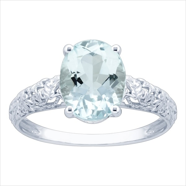 10K White Gold 1.66ct TW Aquamarine and Diamond Vintage Style Ring - Blue. Opens flyout.