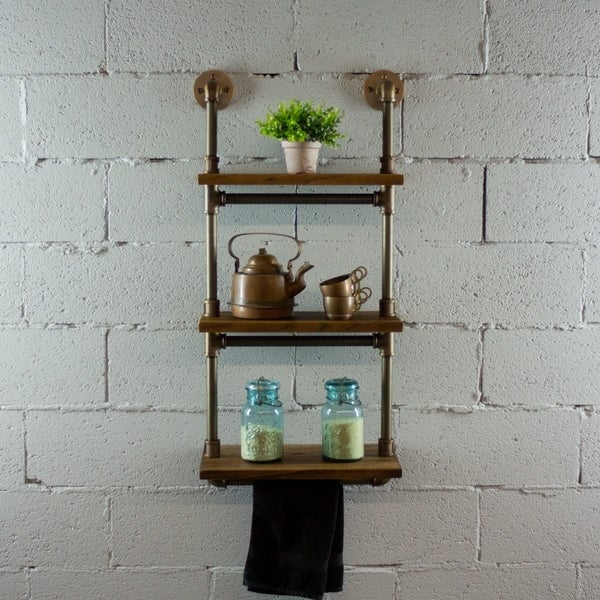 OS Home and Office Model P3T-RB 3-Tiered Wall-Mounted Pipe Shelf Rack With Reclaimed Aged-Wood Finish.