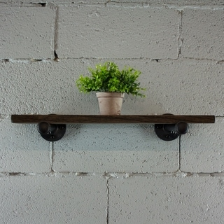 OS Home and Office Model P24-BS 24 inch x 10 inch Decorative Wall Mounted Single Pipe Shelf with Reclaimed-Aged Wood Finish.
