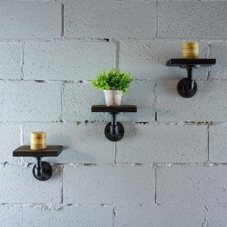 OS Home and Office Model P3P-BS Industrial 8-Inch 3-Piece Wall Mounted Pipe Shelf  Metal with Reclaimed-Aged Wood Finish