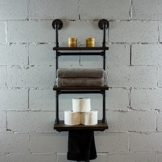 OS Home and Office Model P3T-BS  3-Tiered Wall-Mounted Pipe Shelf Rack With Reclaimed Aged-Wood Finish. - 20 x 10