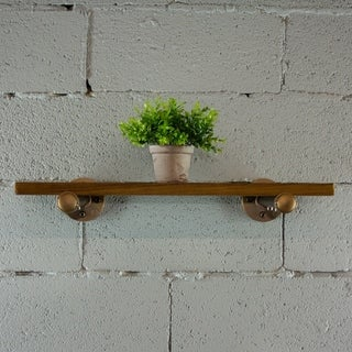 OS Home and Office Model P24-RB 24 inch x 10 inch Decorative Wall Mounted Single Pipe Shelf with Reclaimed-Aged Wood Finish.