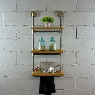 OS Home and Office Model P3T-BB  3-Tiered Wall-Mounted Pipe Shelf Rack With Reclaimed Aged-Wood Finish. - 20 x 10