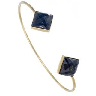 Alchemy Jewelry Precious Raw Sapphire Diamond Gemstone Bangle