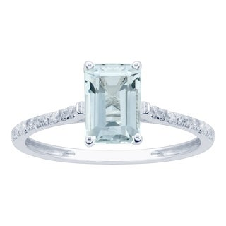 10K White Gold 1.16ct TW Aquamarine and Diamond Ring - Blue