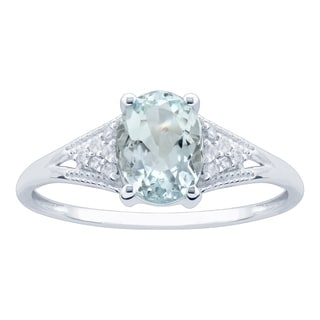 10K White Gold 1 28ct TW Aquamarine And Diamond Ring Blue