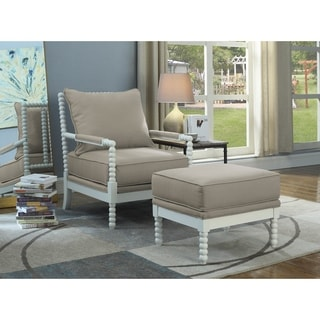 Best Master Furniture Beige Fabric Upholstered White Pine Wood Arm Chair and Ottoman