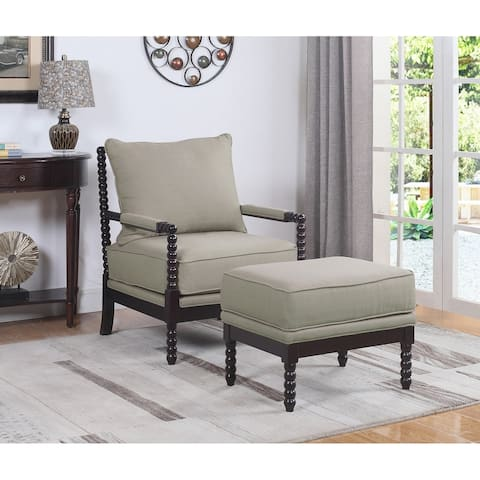 Best Master Furniture Beige/Espresso Upholstered Wood Armchair and Ottoman