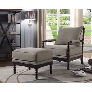 Best Master Furniture Taupe/Espresso Arm Chair and Ottoman Set