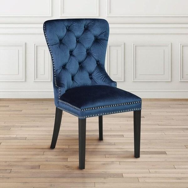 nailhead dining room chairs grey velvet upholstered nailhead dining room chair free shipping today
