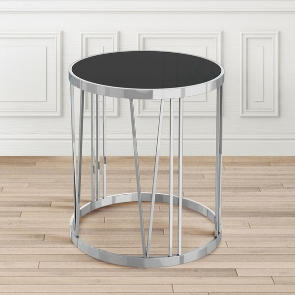Thea Metal Black Silver Round End Table