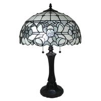 Amora Lighting AM316TL16 Tiffany Style White Table Lamp 18 Inches Tall