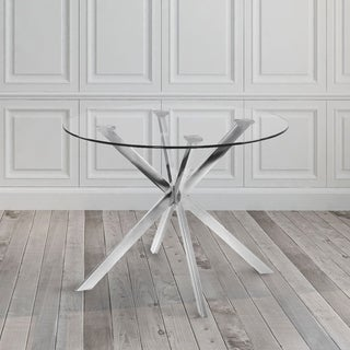 Modern Circular Glass and Metal Dining Kitchen Table