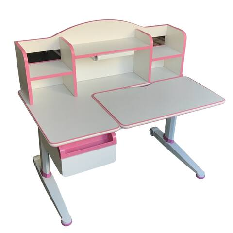 TGEG Kid's Study Desk Height Adjustable Tilted with Book Shelf