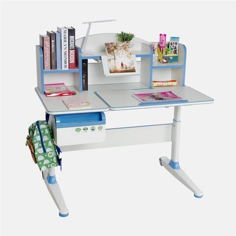 TGEG Kid's Study Desk Height Adjustable Tilted with Book Shelf