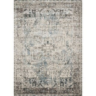 """Traditional Slate Grey Antique Inspired Medallion Rug - 2'7"""" x 4'"""
