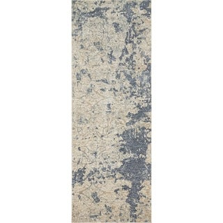 "Distressed Abstract Beige/ Blue Mosaic Runner Rug - 2'8"" x 12'"