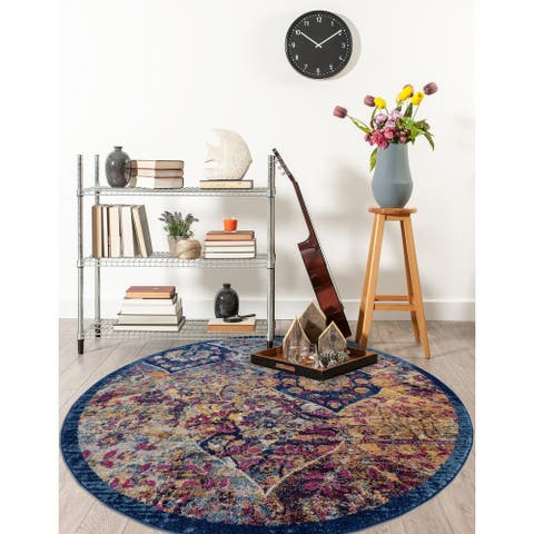 The Curated Nomad Meadowsweet Moroccan Navy/Orange Area Rug