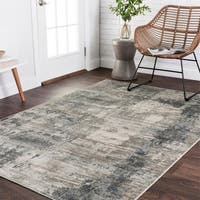 Vintage Glam Dark Grey/ Ivory Abstract Area Rug - 6'7 x 9'2