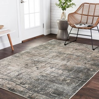 "Vintage Glam Grey/ Moss Green Abstract Area Rug - 6'7"" x 9'2"""