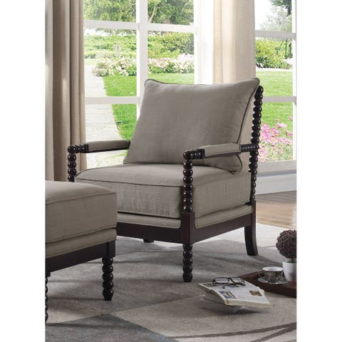 Best Master Furniture Taupe/Espresso Wood Upholstered Arm Chair