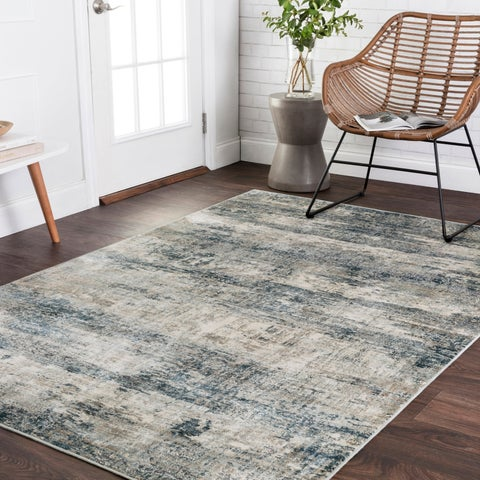 Vintage Glam Grey/ Blue Abstract Area Rug - 6'7 x 9'2