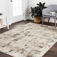 """Vintage Glam Ivory/ Slate Grey Abstract Area Rug - 6'7"""" x 9'2"""""""