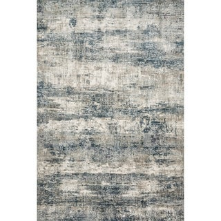"""Vintage Glam Grey/ Blue Abstract Area Rug - 2'7"""" x 4'"""