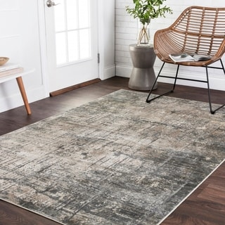 "Vintage Glam Grey/ Moss Green Abstract Area Rug - 9'6"" x 13'"