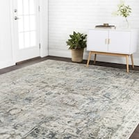 Traditional Slate Grey Antique Inspired Medallion Rug - 12' x 15'