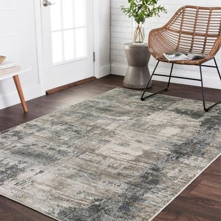 "Vintage Glam Dark Grey/ Ivory Abstract Area Rug - 3'7"" x 5'7"""