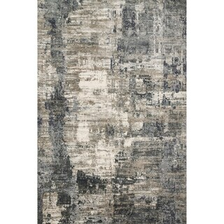 Vintage Glam Dark Grey/ Ivory Abstract Area Rug - 2'7 x 4'