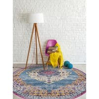 "Nina Vintage Bohemian Blue/ Orange Round Rug - 6'6"" x 6'6"" round"