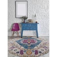 "Nina Vintage Bohemian Turquoise Round Rug - 6'6"" x 6'6"" round"