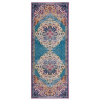 Wilton-Woven Nina Blue Orange Erased Medallion Rug - 2'6 x 6'