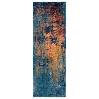 "Nina Vintage Bohemian Orange/ Blue Runner Rug - 2'6"" x 7'6"""
