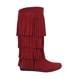 Yoki-Mudd-55 Women's Fringe Boots