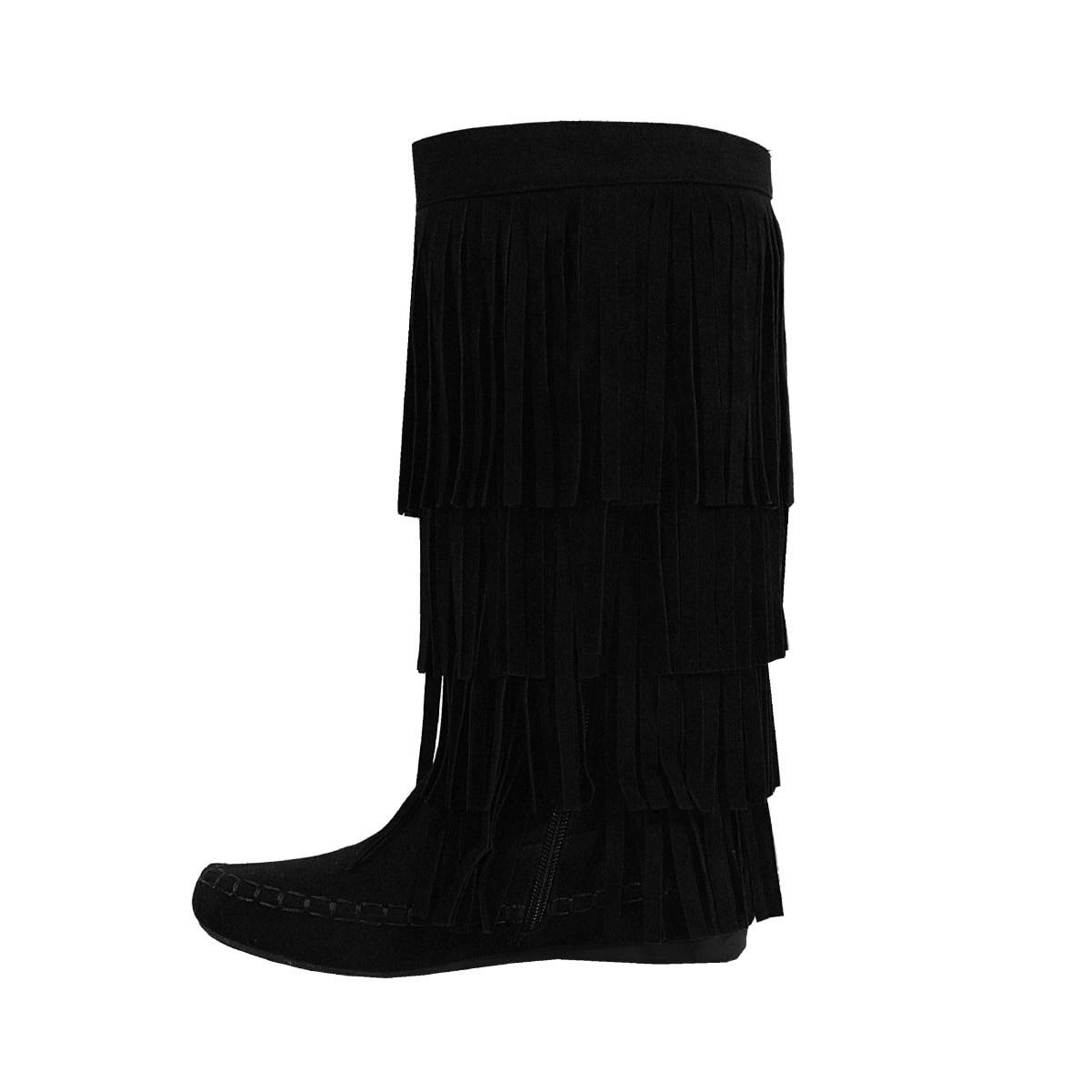 Yoki Mudd-55 Womens 4 Layer Fringe Flat Boots Moccasin Mid Calf Comfy Boots