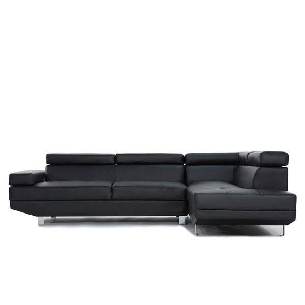 2 Pc Contemporary Bonded Leather Sectional Sofa by Generic