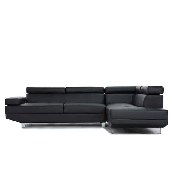 Shop 2 Pc Contemporary Bonded Leather Sectional Sofa - Free ...