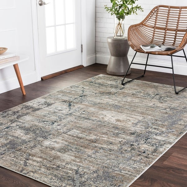 Damask Taupe Rug: Shop Vintage Glam Taupe/ Blue Damask Area Rug