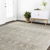 Traditional Grey Antique Inspired Damask Rug - 13' x 18'