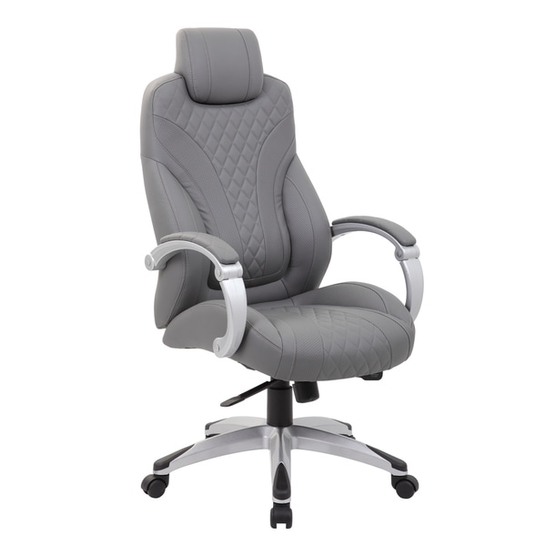 Boss Office Products Grey Executive Hinged Arm Chair