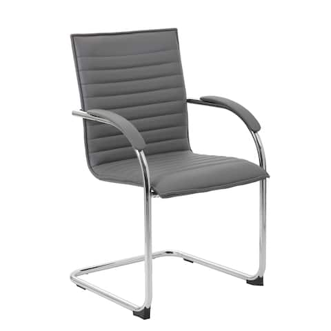 Boss Office Products Grey Chrome Frame Vinyl Side Chair, 2 pack