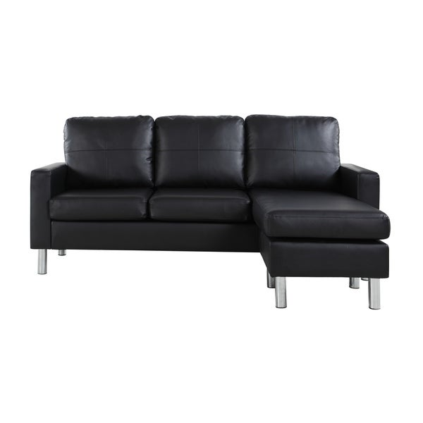 Shop Modern Small Bonded Leather Sectional Sofa - Free ...