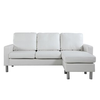 Modern Small Bonded Leather Sectional Sofa