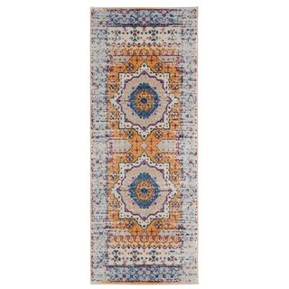 Wilton-Woven Nina Ivory Orange Erased Medallion Rug - 2'6 x 6'